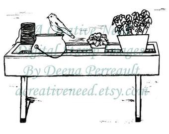 INSTANT DOWNLOAD Garden Shelf, Digital Stamp Image, for Scrapbook, Cards, art journals