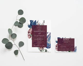 Classic Floral Watercolor Wedding Invitation Set