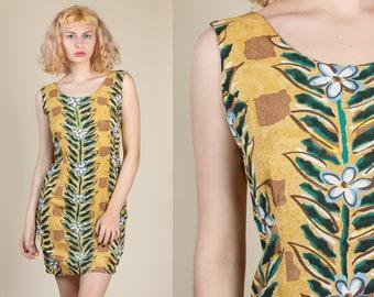 90s Floral Striped Mini Dress - Medium/Large // Vintage Jam's World Grunge Tank Minidress