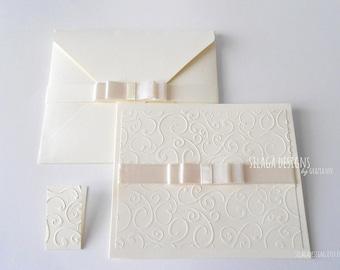 Ivory embossed wedding invitations, wedding invitations with satin bow, custom invitations, Italian bridal invitations, wedding stationery