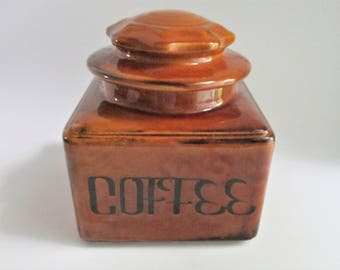 Vintage Coffee Canister Retro Brown Ceramic Holiday Designs 1960's Made in USA