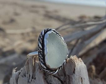 White seaglass ring// size 6 3/4
