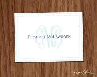 Classic Monogrammed Folded Note Cards - Ladies Girls Simple Personal Stationery Stationary - Thank You Notecards