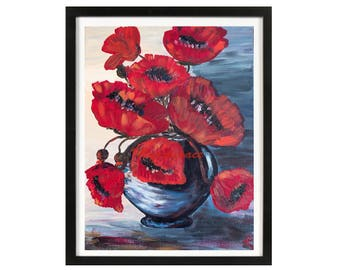 Red poppy art print, Large floral art, abstract Red Poppies, bedroom Decor, Floral Art Print, Flower Wall Art, red black floral wall art