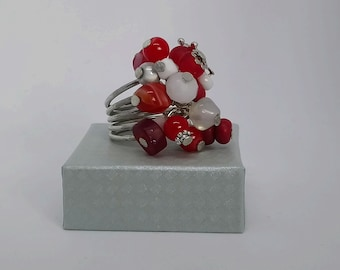 Adjustable ring silver tone red / white size 58