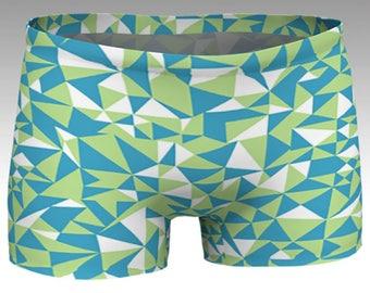 NEW!, Geometric Shorts, Blue, Green Boy Shorts, Women's Shorts, Yoga Shorts, Swim Shorts, Athletic Shorts, Match with Geometric Crop Top