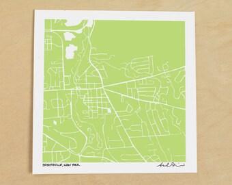Fayetteville NY Map, Hand-Drawn Map Print of Fayetteville NY
