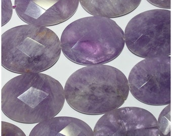 """15"""" St Lavender Cape Amethyst Faceted Oval Beads 40x30mm.-Strand 40cm"""