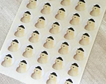 """Chicks in Hats Stickers Chick in A Miniature Black Bowler Chicken Sticker Seals 1.5"""" Round (12)"""