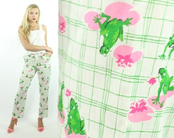 70s Novelty Frog Pants High Waisted Trousers White Green Vintage 1970s Medium M