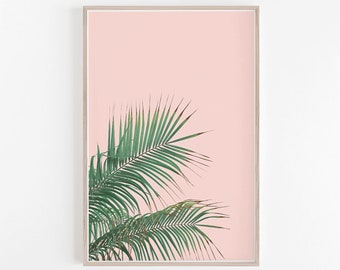 Tropical Leaves,Palm Leaf,Leaves,Wall Art,Art Prints,Tropical Decor,Tropical,Pink,Prints,Large Wall Art,Palm Leaf Print,Digital Prints,Leaf