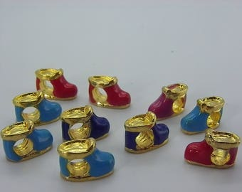 5 beads in gold tone with glazes form shoes 5 mm hole