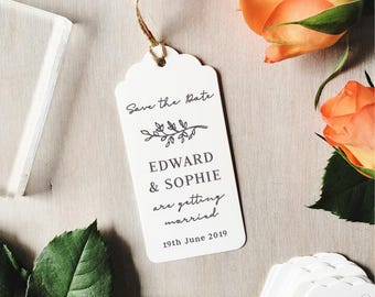 Custom Save The Date Stamp Portrait | Wedding Stamp - Brush Calligraphy - Wedding Stationery - Save The Dates