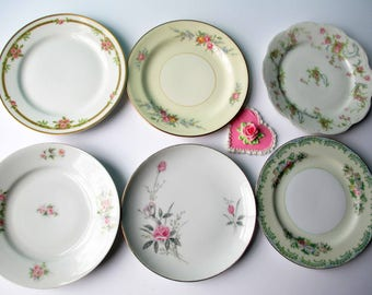 Floral Mismatched Dessert Bread and Butter Plates Set of Six - Weddings Bridal Showers