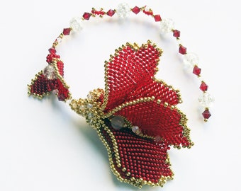 RED gold  Dreams  Flower Lilly  Bridal bracelet-hair accessories, Modern Seed Beads Fashion Party Floral Bridesmaid bracelet