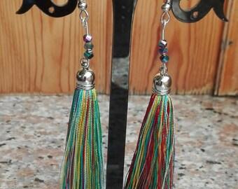 Multicolour tassels earrings