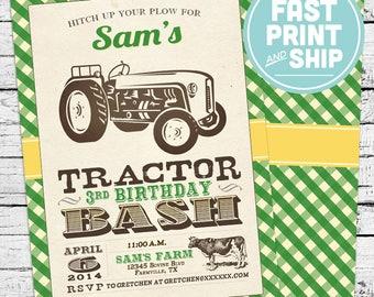 Printed Tractor Farm Birthday Invitations and Envelopes