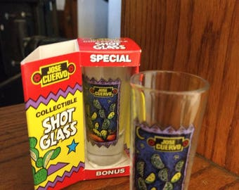 "Vintage Pair of Tall Jose Cuervo Tequila Shot Glasses. Lime and Cactus Clear Glass 4"" tall Shot Glasses with the Original Box. Like new."