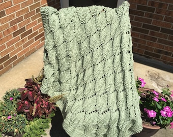 Frosty Green, Knitted, Afghan