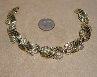 Vintage Signed Lisner Iridescent Rhinestone Bracelet 1960's Jewelry 3004