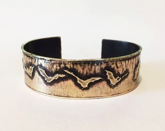 Bats Cuff Bracelet, Etched Brass Cuff Bats in Flight - Free Domestic Shipping