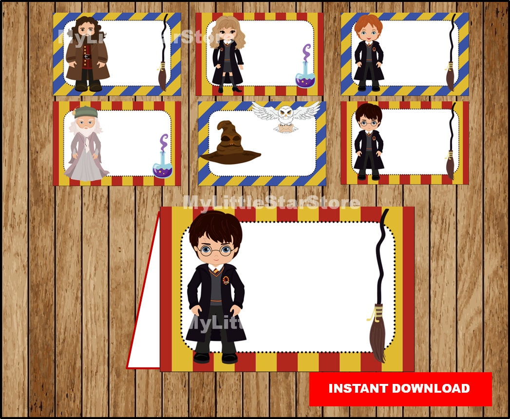 Free Harry Potter Tent Card Food Labels