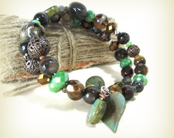 Forest colors wire beaded wrap bracelet, dark brown + teal green gemstone + glass beads, easy wrap-no clasp aGiftofLaughter tagt green brown