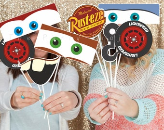 DIY PRINTABLE Cars photo props   Cars themed birthday party or baby shower decorations   Lightning McQueen, Mater, Sally   Cars photo booth!