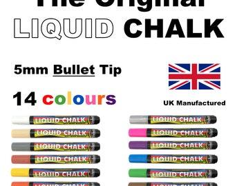 Liquid Chalk Marker Pen Rainbow Chalk 5mm *Bullet Nib* Chalkboard, Blackboard  14 Colours