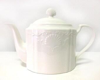 "Vintage Mikasa, white bone china teapot, ""Hampton Bays"", made in Japan, embossed sea shells, discontinued"