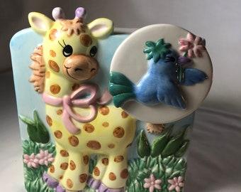 Napco Baby Giraffe Musical Planter |Vintage Music Box Planter |Nursery Music Planter |Vintage Baby Planter |Baby Gift |Nursery Decor |