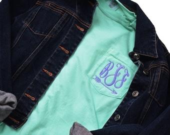 Comfort Colors Long Sleeve Pocket T-Shirt, Monogram Pocket Long Sleeve T Shirt, Personalized Long Sleeve T-Shirt, Monogrammed Pocket T-shirt