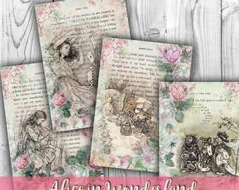 Alice in Wonderland Digital Collage Sheet Download - Digital Scrapbooking Papers