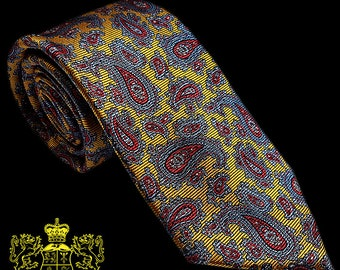 Gold and Blue Paisley Silk Tie