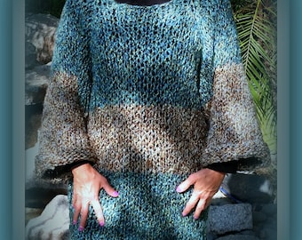 SWEATER WOMENS KNITTED Bulky Pullover  Handmade  Hand Knit  Tunic Oversized Color block Loose Knit Bulky