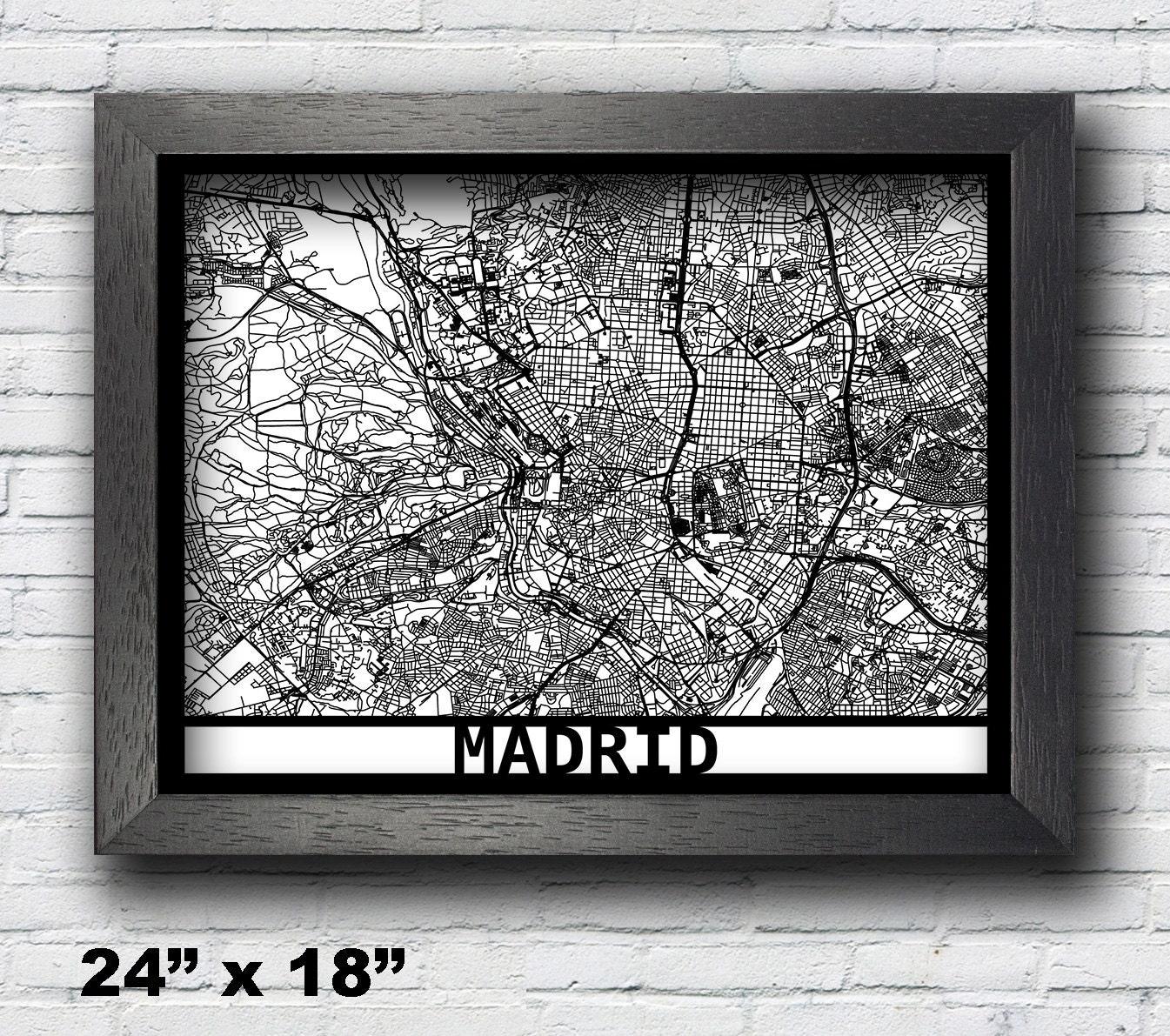 Madrid Spanien Karte gerahmt Laser Cut Karte Madrid