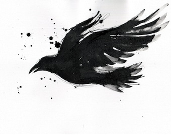 Crow painting - Ink on 8x12in canvas, A4, 21x30cm - abstract flying crow 3