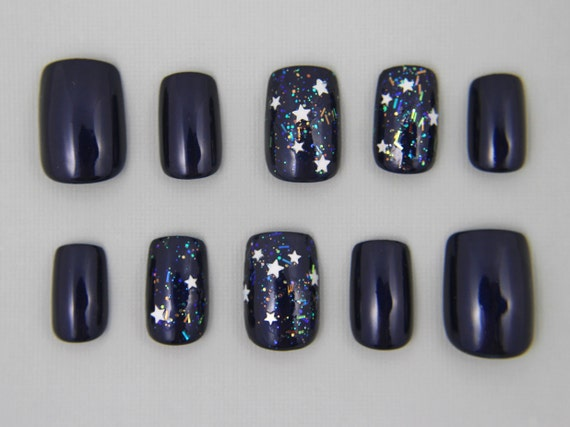 Square Navy Blue Star Nails | Press On Nails | Fake Nails | False ...