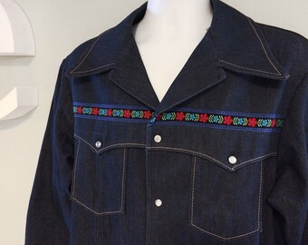 Vintage 1970s 70s Men's Denim Blue Jean Jacket Hippie Embroidered Braid Trim Rockabilly Shirt Western Cowboy NOS Deadstock Mint by FARAH 46