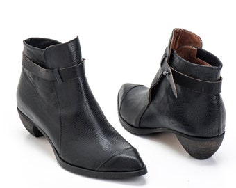 Black Leather Booties / Women Leather Shoes / Lizard Pattern Leather Casual Boots / Designers Shoes / High Heels Winter Shoes - Tumarkin