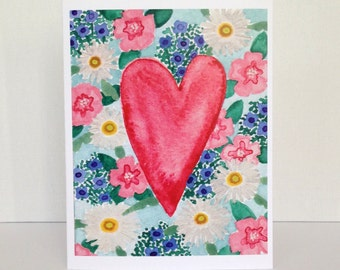 Watercolor Floral Card / Heart Blank Card / Blank Greeting Card / Pretty Card / I Love You Card