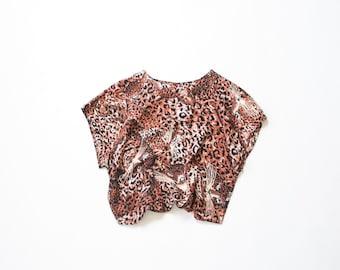 90s Rayon Print Blouse / 1990s Cat Face Novelty Print Leopard Animal Graphic / Aesthetic Shirt / Soft Grunge Box Blouse / Medium