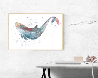 Whale Watercolor Print, Instant Download, Horizontal Printable Art (Any Size), Water Color Large or Small Print, Ocean Nature Decor Wall Art