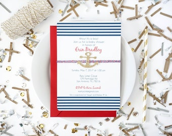 Nautical baby shower invitation, Ahoy it's a boy!, Boy baby shower invite, Gold anchor invite, Anchors Aweigh, Boat invite, nautical stripes