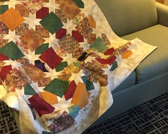 Morning Glory Stars handmade Large lap quilt - Multi-colored