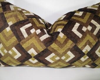 Brown pillow, Pillow cover, Green pillow, Olive green pillow, Green, Brown, Cream pillow, Decorative Pillow, Pillow lumbar, Accent lumbar