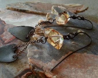 Swarovski Crystal Element Earrings / Copper Heart  Earrings / One Of A Kind / Handmade /  Copper Jewelry