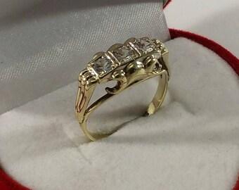 Ring Gold 333 crystal stones nostalgic rar GR112