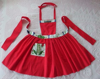 Vintage Children's Apron Red With Barkcloth Accents Mid Century