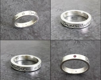 Sterling Silver Mothers Ring - Personalized Flush Set Birthstone Ring